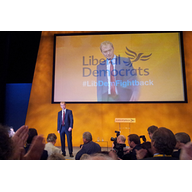 Tim Farron recieves a standing ovation at the LibDem Conference in Bournemouth 2015 (Mike Pearce)
