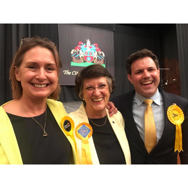 Lib Dems' three new MEPs for SE England Region, Judith Bunting, Catherine Bearder and Antony Hook