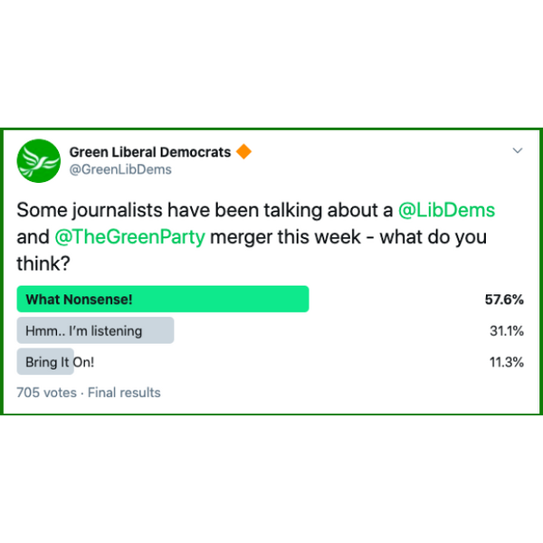 Tweet about Green Party and Lib Dems Merger